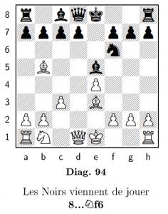 Un exemple de diagramme d'échecs avec l'indication d'un coup